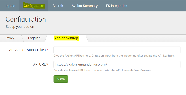 Image showing the Avalon Add-on Configuration Tab and Add-on Tab Selected