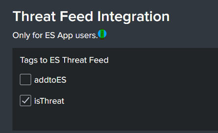 Image showing a screenshot of the ES Integration Dashbaord wtih isThreat checked