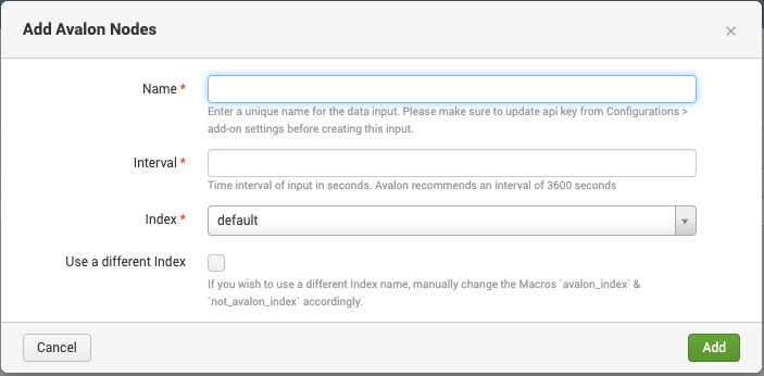 Image showing a screenshot of the input creation for Add Avalon Nodes